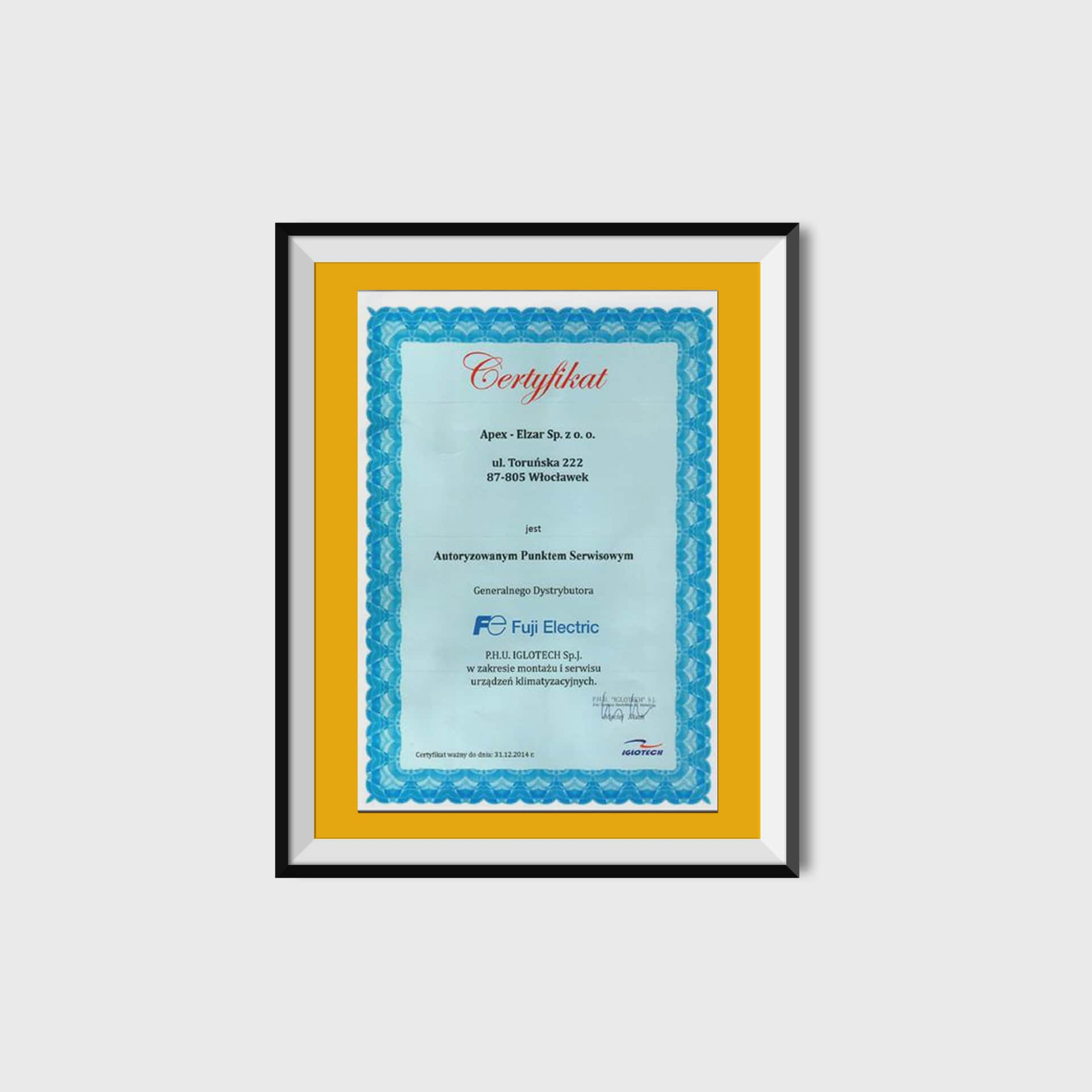 Certyfikat od firmy Iglotech<br/>31.12.214