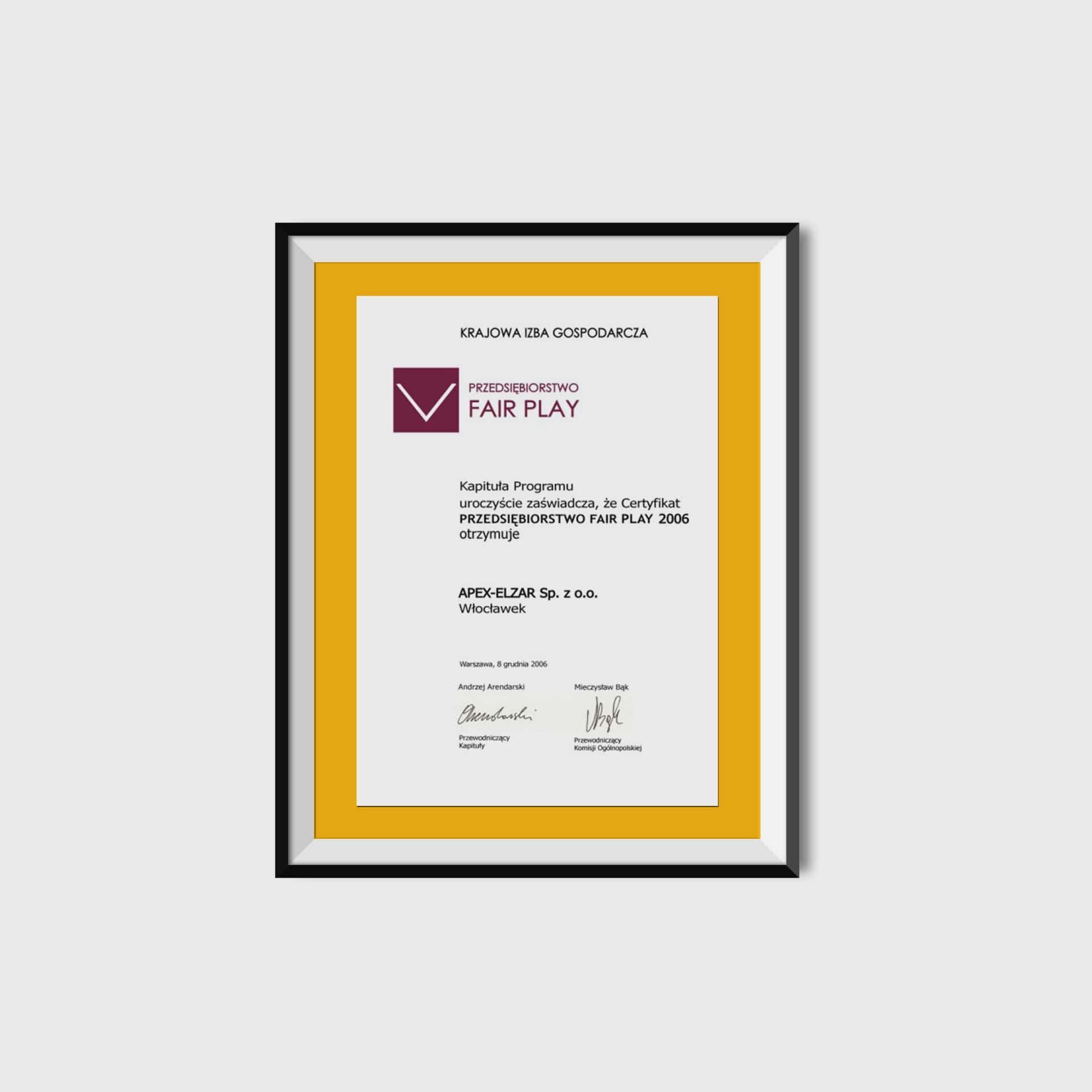 Certyfikat Przedsiębiorstwo Fair Play<br/>08.12.2012