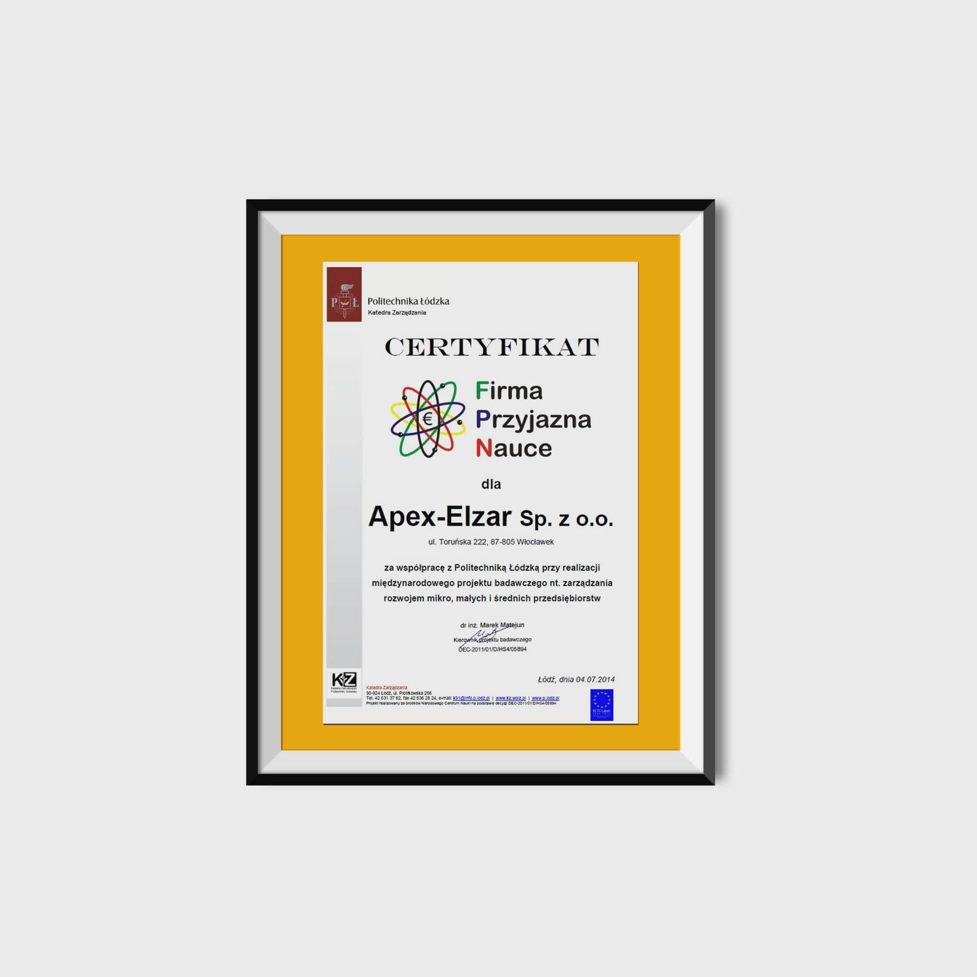 Certyfikat Firma Przyjazna Nauce<br/>04.07.2014