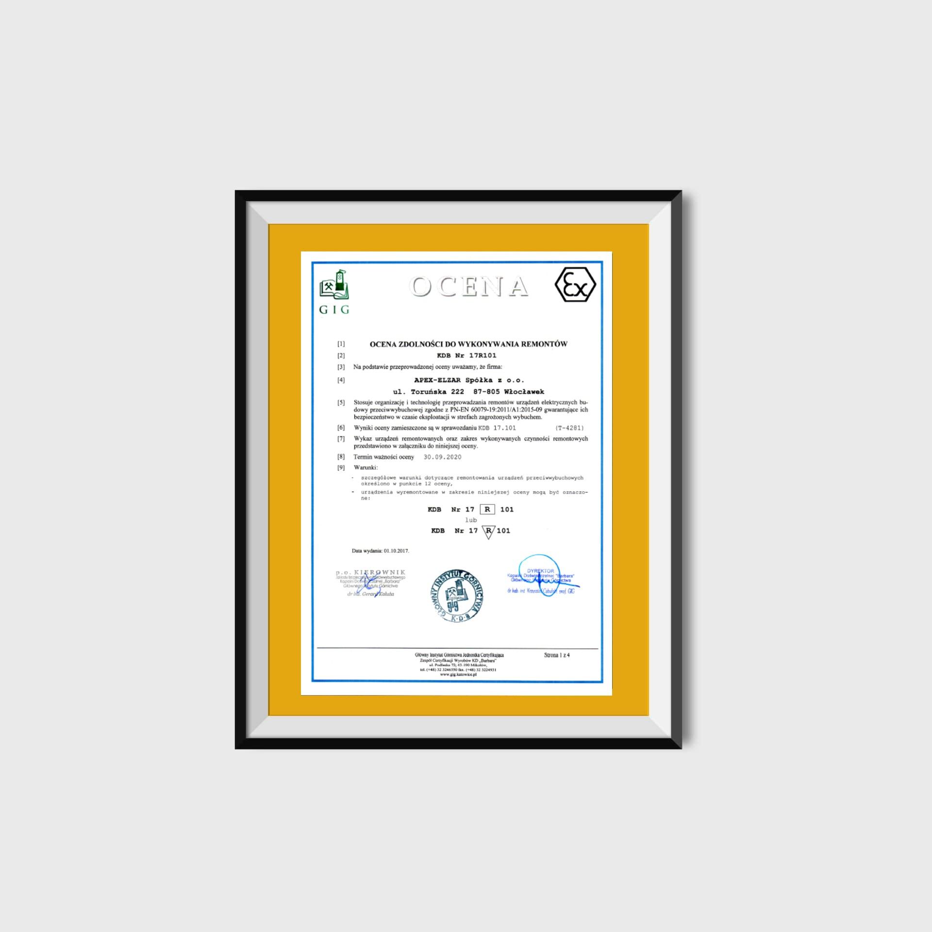 Certyfikat EX (Ocena KDB Nr 17R101)<br/>01.10.2017